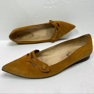 Tods Suede Pointed toe flats size 38.5 Tan brown